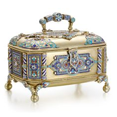 A silver-gilt and cloisonné enamel box, Sergei Nazarov, Moscow, 1888