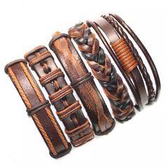 601dc22f3ee4 5 piezas brown wrap pulsera de cuero real hombres 2018 amistad pulseras  brazaletes para las mujeres