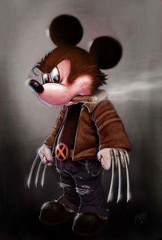 Strange Fan-Art Is In Order Mickey/Wolverine Best Disney/Marvel mashup I've seen yet!Mickey/Wolverine Best Disney/Marvel mashup I've seen yet! Disney Marvel, Marvel Art, Marvel Comics, Dark Disney, Disney Art, Muppet Babies, Scott Pilgrim, Bizarre, Fan Art