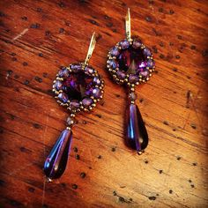Vintage inspired purple crystal earrings by AmyKanarekDesigns