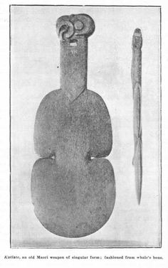 Kotiate, an old Maori weapon of singular form: fashioned from whale's bone.