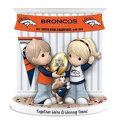 Limited-edition Precious Moments figurine honors the Denver Broncos 3 Super Bowl wins. Handcrafted of fine bisque porcelain. Broncos Gear, Go Broncos, Broncos Fans, Broncos Memes, Denver Broncos Super Bowl, Denver Broncos Football, Football Man Cave, Super Bowl Wins, Precious Moments Figurines