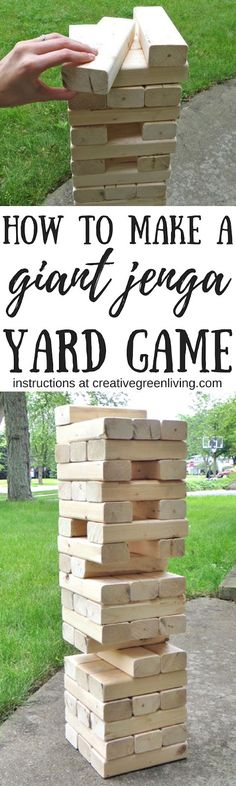 Learn how to make a giant DIY jenga game. It's the perfect yard game to play outside in the backyard this summer. #jenga #yardgames #patiogames #BBQ #summerfun
