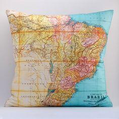 DIY vintage BRAZIL map pillow KIT 16x16 envelope style by saltlabs, $35.00