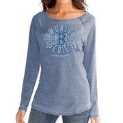 Boston Red Sox 2013 MLB World Series Champions Ladies Season Boatneck Long Sleeve T-Shirt - Navy Blue