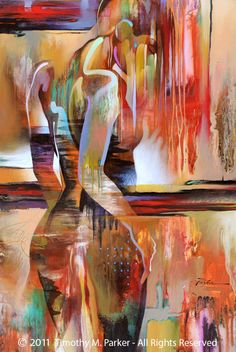 "Figure Art Painting - Artist Tim Parker ""Halfway There"" Abstract Figurative Artwork Print"