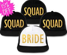Bachelorette Party Hats Deal - BRIDE White & SQUAD Black with Gold Foil at www.MrsBridalShop.com. Click here to buy https://mrsbridalshop.com/collections/hats/products/bachelorette-party-hats-deal-bride-white-squad-black-with-gold-foil-print