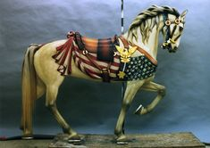 Another magnificent carousel horse carved by Daniel Muller. This particular piece commemorates the American Civil War, and features the Union Flag on one side and the Confederate Flag on the opposite side.