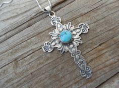Turquoise Cross necklace handmade by an American Indian in sterling silver by Billyrebs on Etsy