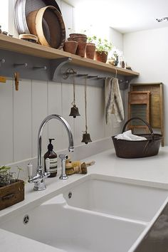 Luxury Kitchen love this modern rustic kitchen white sink open shelves - The key to creating the perfect contemporary country kitchen is to keep it simple - restrained colour palette, natural materials, individual touches, maybe a vintage find or two. Outdoor Kitchen Design, Interior Design Kitchen, Kitchen Decor, Kitchen Ideas, Kitchen Pictures, Kitchen Themes, Outdoor Kitchen Sink, Basement Kitchen, Kitchen Styling