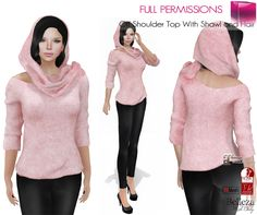 a1711a7fa74601 Second Life Marketplace - Full Perm Off Shoulder Top With Shawl and Hair  FITMESH… Second