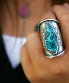Into the Paradise Sky - Chrysocolla Sterling Silver Ring