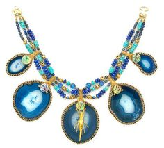 Tony Duquette (American, 1914-1999), Representing Strength in Times of Difficult Challenges', 1990s. A blue sliced agate, paua shell, turquoise, lapis lazuli, glass bead and vermeil necklace with 'grasshopper' element, signed Tony Duquette. Sold for $6,710