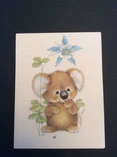 Ambassador Cards Vtg Notecards Koala Bear Blue Flower Ladybug Blank Cards Set 7 | eBay