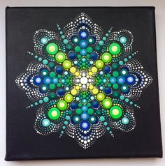 Original Dotart grün Mandala-Malerei auf von CreateAndCherish