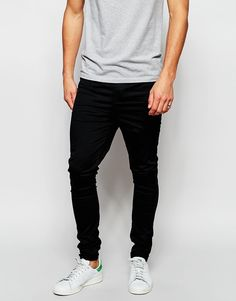"""Meggings by ASOS Super-stretch twill Stretch waistband Faux fly Tapered leg Super skinny - cut closest to the body Machine wash 97% Cotton, 2% Elastane Our model wears a 32""""/81 cm regular and is 188cm/6'2"""" tall"""