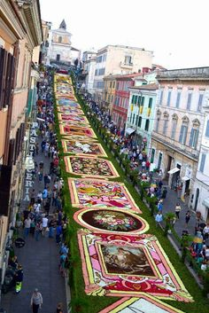 L'infiorata, Genzano di Roma, Italy So beautiful - I have seen it myself - worth seeing Corpus Christi, Rome Travel, Italy Travel, Visit Italy, Beautiful Places In The World, Europe, Cool Places To Visit, Around The Worlds, Street View