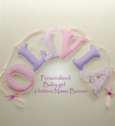 Fabric letter name banner, girl's room name banner - PINK - PURPLE COLOR pattern,  Baby Girl Name Wall Art - Made To Order