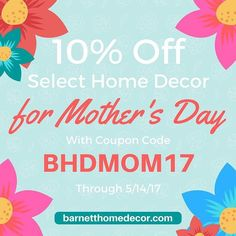 Save 10% on select Barnett Home Decor with coupon code BHDMO17. See our blog for eligible chair pads bar stool covers rocker cushions pillows and table runners  #homedecor #coupon #mothersday #diningroom #discount  #mom #gift