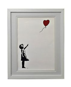 "Banksy Framed ""Girl With Balloon"" print in White Frame With Double White Mount"
