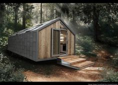 Prefab Camo Cabin: Modern Mobile Metal-Clad Trailer Home : [ Filed under Portable or in the Architecture category ] If you saw it sitt. Maison Transportable, Prefab Homes, Modular Homes, House On Wheels, Little Houses, Tiny Houses, Eco Friendly House, House Floor Plans, House Design