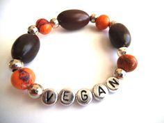 VEGAN Organic Beaded Stretch Bracelet, Brown Coral & Silver, Statement Jewelry, Eco-Friendly Jewelry, Vegan Jewelry by TerriJeansAdornments on Etsy