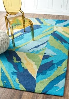 $5 Off when you share! Breeze Indoor Outdoor NO14 Blue Rug | Contemporary Rugs #RugsUSA