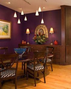 My eggplant purple dining room, I chose this color on a whim and ...