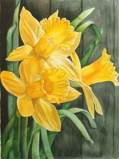 Tutorial on watercolor daffodils