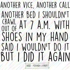 Vice - Miranda Lambert. Lyric art.