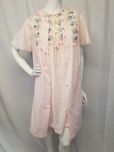 Vtg GILEAD Pink Cotton Blend Babydoll Nightie Robe Set Chenille Pom Poms M  VLV  Gilead 004a1f2a1