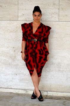 Creating Curves: Nadia Aboulhosn paints the town red in this one of a kind dress!