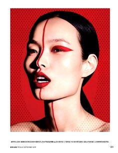 Ling Liu Models Red-Hot Makeup Looks in Vogue China Gracing the pages of Vogue . - Ling Liu Models Red-Hot Makeup Looks in Vogue China Gracing the pages of Vogue China's September - Vogue China, Cute Makeup, Simple Makeup, Beauty Makeup, Makeup Looks, Makeup Style, Casual Makeup, Bright Makeup, Huda Beauty