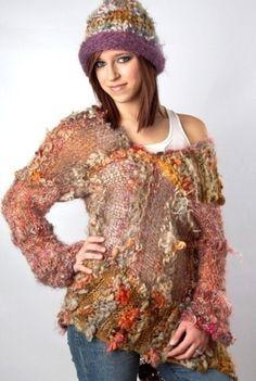 freeform crochet sweater.