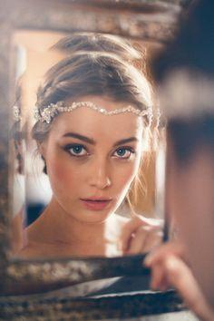 parisian vintage wedding hairstyle and make up with crystal bridal headpiece Headpiece Wedding, Bridal Headpieces, Pearl Headpiece, Wedding Veils, 1920s Headpiece, Wedding Garters, Wedding Hijab, Wedding Bride, Boho Chic