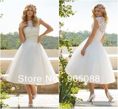 Natural Hot Sales Sweetheart A-line Mid-calf Tulle Detachable Lace Bodice Buttons Covered White Puffy Short Wedding Dress