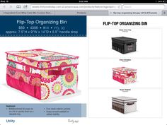 Flip top organizing bin