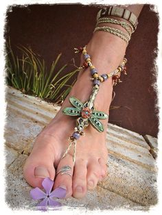 DRAGONFLY BAREFOOT sandal SINGLE sandal Animal Totem by GPyoga, $54.00