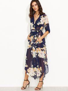 Navy Floral Print Self Tie Wrap Chiffon Dress -SheIn(Sheinside)