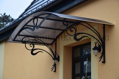 wrought iron canopies www. Door Canopy, Patio Canopy, Marquise, Tuscan Design, Tuscan Style, House Awnings, Wrought Iron Decor, Front Porch Design, Iron Furniture