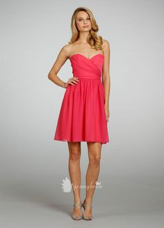 guava chiffon strapless a line short bridesmaid dress