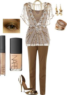 """""""Gold & Khaki"""" by in2song on Polyvore"""