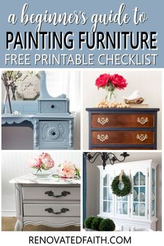 This checklist will show you the same process I use on every furniture piece I refinish and it's FREE! Whether you are refinishing a family antique or painting a roadside rescue, these simple tips will show you the fail-proof way to paint furniture that lasts! From putting paint brushes in your refrigerator to wearing your clothes inside out, these easy hacks that will make your next paint job your easiest one yet! Professional secrets for an amazingly smooth surface without brush strokes White Washed Furniture, Painted Bedroom Furniture, Distressed Furniture, Farmhouse Furniture, Repurposed Furniture, Glazing Furniture, Diy Furniture Projects, Furniture Makeover, Furniture Refinishing