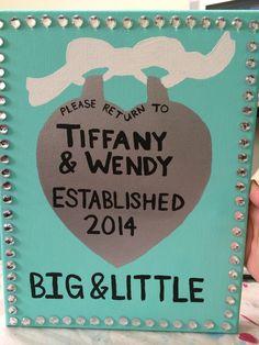 """Please return to"" Tiffany & Co. canvas, Big and Little, Big/Little Ideas, Sorority, Gamma Phi Beta Sorority, Tiffany and Co, Tiffany Blue, Pearls"
