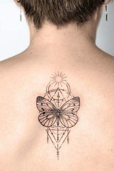 With flowers tattoo, triangle tattoos, vertical tattoo, flower tattoo des. Geometric Tattoo Butterfly, Butterfly With Flowers Tattoo, Unique Butterfly Tattoos, Butterfly Tattoo On Shoulder, Tattoos Geometric, Butterfly Tattoo Designs, Geometric Sleeve, Tattoo Triangle, Flower Of Life Tattoo