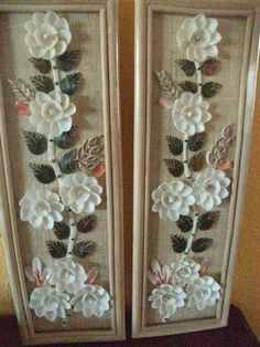 Sea Shell Art/Pair of Shell Flowers/Phillipines/Vintage/Flowers and Leaves.