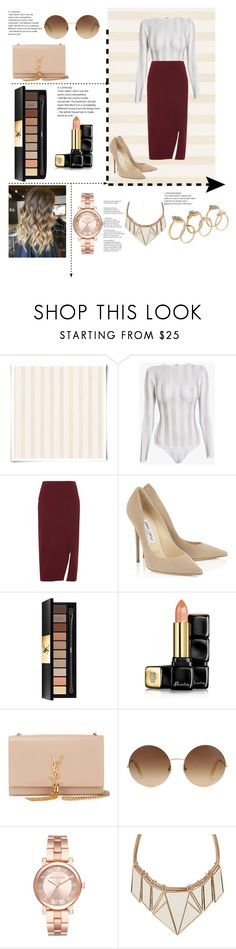 """""""#Striped"""" by galiahzafer ❤ liked on Polyvore featuring Christian Lacroix, Balmain, Whistles, Yves Saint Laurent, Guerlain, Victoria Beckham, Michael Kors and ALDO"""