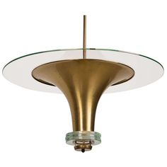 Art Deco Period Glass and Brass Pendant Chandelier. brass and glass. Excellent condition. French. c1930