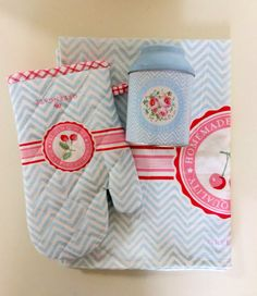 Grill glove, tea towel and tin in the cherry range. www.prettyhomestyle.com.au