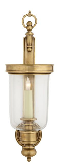 "Chart House Georgian Hurricane Sconce in hand-rubbed antique brass. Size:22""H x 7-1/2""W, extends 8-3/4"". One (1) light 60 watts. Available in other finishes."